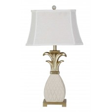 Grand White and Gold Pineapple Table Lamp