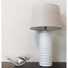Ivory Ceramic Cylinder Art Decor Table Lamp