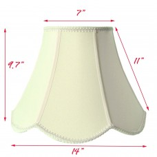 Round Scallop Bell Geneva White Fabric Shade