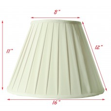 Round Box Pleated Geneva Cream Fabric Shade