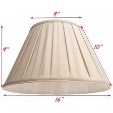 Round Box Pleated Cream Fabric Shade