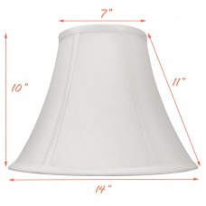 Round Bell White Silk Looked Fabric Shade