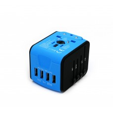 Travel charger with 4 port USB (BLUE)